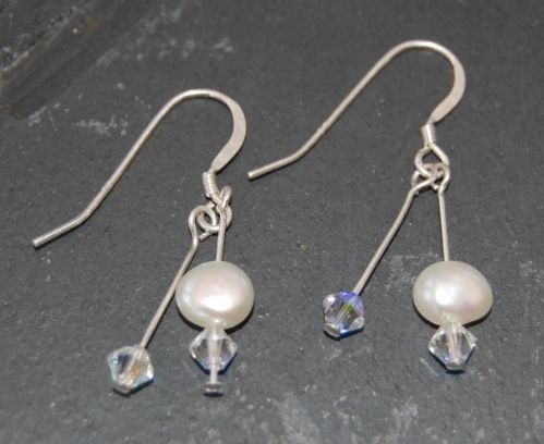 Freshwater Pearl & Swarovski Earrings (Double Drop)  FE01-DD